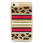 Bling Rhinestone Crystal Leopard Gold Pearl Back Hard Case Cover for Apple IPhone 4 case, iphone 4G case, iphone 4S case