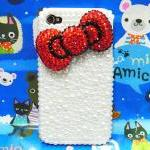 Red Bow iphone 4 Pearl case, Pearl iphone 4G case, iphone 4S Pearl Bow case, iphone 4 Case Cover A2