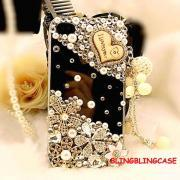 iphone 5 case , Bling Clear iphone 5 case crystal flower case, Vinage iphone 5G case, Pearl iphone 5 case Charm I Love You,iphone 5s case,bling iphone 5s case