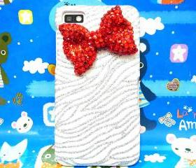 Bling Zebra Silver White blackberry Z10 Case,Red Bow Blackberry 10 Case Cover,Crystal bow Blackberry Z10 Case, Bow Blackberry Z10 Case A1