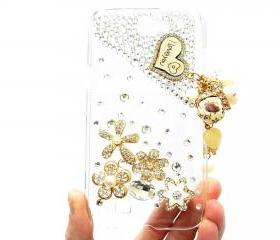 Samsung Galaxy Note 2 N7100 Case,Crystal Samsung N7100 I Love u Charm Case, Flower Pearl Samsung Galaxy Note 2 II N7100 Case