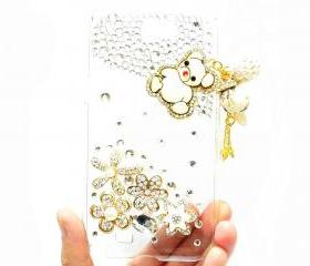 Samsung Galaxy Note 2 N7100 Case,Crystal Samsung N7100 Lovely Bear Charm Clear Case,Flower Pearl Samsung Galaxy Note 2 II N7100 Case