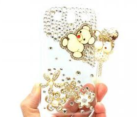 Bling Crystal Flower Charm Lovely Bear Samsung i9300 T999 Galaxy S3 T-Mobile Case Cover, Samsung Galaxy S3 T999 Clear Case T-Mobile