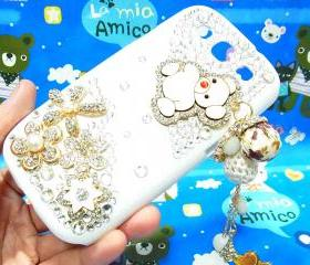 Crystal Flower Charm Lovely Bear Samsung i9300 T999 Galaxy S3 T-Mobile Case Cover,Samsung Galaxy S3 T999 White Case T-Mobile,Samsung S3 case