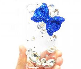 Crystal iPod Touch 5 Case, Bling iPod Touch 5 Case, Blue Bow iPod Touch 5th Case, Clear iPod Touch 5 case,Bling iPod Touch 5 gen Case A1