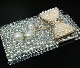 iPod Touch 4 Case, Pearl Bow iPod Touch 4 Case, Shine Silver iPod Touch 4th Case, Bling Crystal iPod Touch 4 case, iPod Touch 4 gen case FS