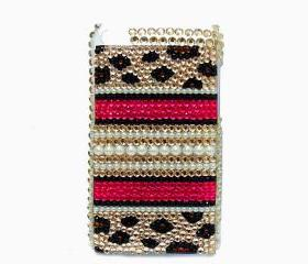 Leopard Gold Pearl iPod Touch 4 Case, iPod Touch 4 4G Case, Bling iPod Touch 4 Case, Crystal iPod Touch 4 Gen case,Bling iPod Touch 4 gen Case LPG