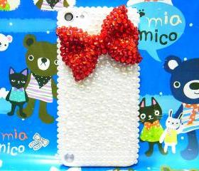 iPod Touch 5 Case,Bling iPod Touch 5 Case,Crystal Red Bow iPod Touch 5th Case,Pearl White iPod Touch 5 case,Bling iPod Touch 5 gen Case A1