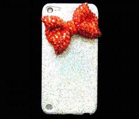 iPod Touch 5 Case,Bling iPod Touch 5 Case,Red Bow iPod Touch 5th Case, Silver iPod Touch 5 case,Bling iPod Touch 5 gen Case A1 Red