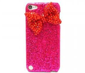 iPod Touch 5 Case,Bling iPod Touch 5 Case,Red Bow iPod Touch 5th Case,Dark Pink Crystal iPod Touch 5 case,Bling iPod Touch 5 gen Case A1 Red