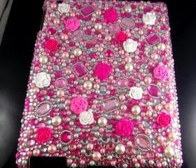 IPad 2 Case, IPad 3 Case,IPad 4 Case,Bling Crystal Pink Flower IPad 2 3 4 Case, Bling Crystal IPad 3 Case,Bling Crystal ipad 4 Case LP
