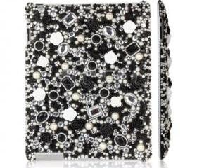 IPad 2 Case, IPad 3 Case,IPad 4 Case,Bling Crystal Black White Flower IPad 2 3 4 Case, Bling Crystal IPad 3 Case,Bling Crystal ipad 4 Case BF