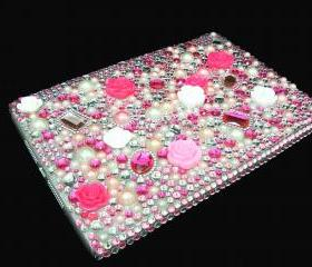 IPad Mini Case, Bling IPad Mini Case, Bling Crystal Pink White Flower IPad Mini Case,Bling Pearl IPad Mini Case, Unique ipad Mini Case LP