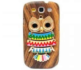 Wood Pattern Owl Samsung galaxy S3 case,Samsung i9300 T999 Galaxy S3 Case, Metal Owl Samsung i9300 T999 Galaxy S3 T-Mobile case A2