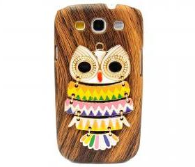 Wood Pattern Owl Samsung galaxy S3 case,Samsung i9300 T999 Galaxy S3 Case, Metal Owl Samsung i9300 T999 Galaxy S3 T-Mobile case A3