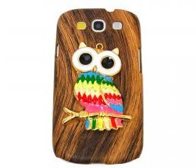Wood Pattern Owl Samsung galaxy S3 case,Samsung i9300 T999 Galaxy S3 Case, Metal Owl Samsung i9300 T999 Galaxy S3 T-Mobile case A4