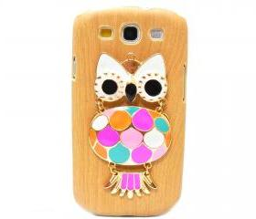 Wood Pattern Owl Samsung galaxy S3 case,Samsung i9300 T999 Galaxy S3 Case, Metal Owl Samsung i9300 T999 Galaxy S3 T-Mobile case A1 LB
