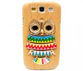 Wood Pattern Owl Samsung galaxy S3 case,Samsung i9300 T999 Galaxy S3 Case, Metal Owl Samsung i9300 T999 Galaxy S3 T-Mobile case A2 LB