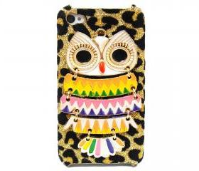 Owl iphone 4 case,owl iphone 4s case, Owl iphone 4G case, Velvet Leopard Gold Owl iPhone 4 Case, iPhone 4s Case, iPhone 4 Hard Case Cover A3