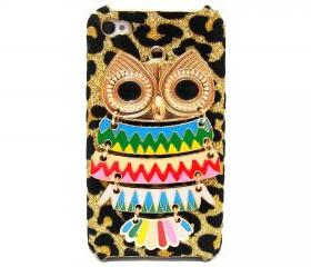 Owl iphone 4 case,owl iphone 4s case, Owl iphone 4G case, Velvet Leopard Gold Owl iPhone 4 Case, iPhone 4s Case, iPhone 4 Hard Case Cover A2