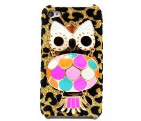 Owl iphone 4 case,owl iphone 4s case, Owl iphone 4G case, Velvet Leopard Gold Owl iPhone 4 Case, iPhone 4s Case, iPhone 4 Hard Case Cover A1