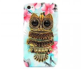 iphone 4 case, iphone 4G Case, iphone 4s case, Blue Flower iphone 4 case, Owl iphone 4 Case, Metal Owl Flower iphone 4G Case B1