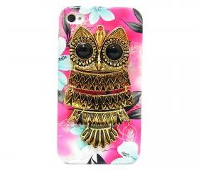 iphone 4 case, iphone 4G Case, iphone 4s case, Pink Flower iphone 4 case, Owl iphone 4 Case, Metal Owl Flower iphone 4G Case B1