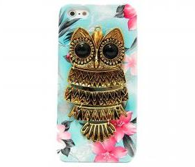 Owl iphone 5 case, iphone 5G Case, iphone 5 case, Blue Flower iphone 5 case, Owl iphone 5G Case, Metal Owl Flower iphone 5G Case B1