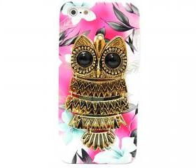 Owl iphone 5 case, iphone 5G Case, iphone 5 case, Pink Flower iphone 5 case, Owl iphone 5G Case, Metal Owl Flower iphone 5G Case B1