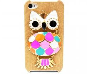 iphone 4 case, iphone 4G Case, iphone 4s case, Wood Pattern Plastic iphone 4 case, Owl iphone 4 Case, Owl iphone 4G Case LB A1