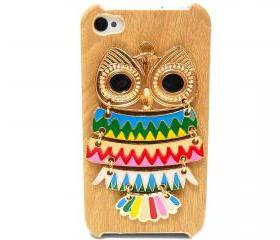 iphone 4 case, iphone 4G Case, iphone 4s case, Wood Pattern Plastic iphone 4 case, Owl iphone 4 Case, Owl iphone 4G Case LB A2