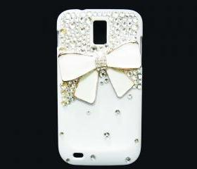 Bling Pearl White Bow T989 Hercules Galaxy S2 SII T-Mobile case, Samsung T989 Hercules Galaxy S2 SII T-Mobile case, Crystal White Bow Samsung T989 Hercules Galaxy S2 SII T-Mobile Case Cover, White Samsung Galaxy S2 T989 T-mobile Case