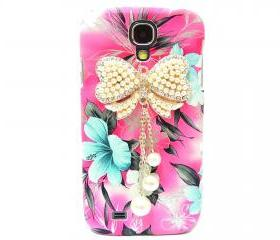Samsung i9500 Galaxy S4 case,Samsung i9500 Galaxy S4 Bow Case,Crystal Pearl Bow Samsung i9500 Galaxy S4 Case, Pink Flower Galaxy S4 Case BW