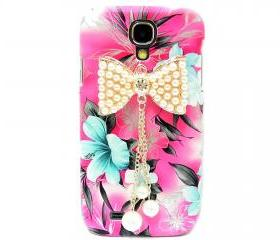 Samsung i9500 Galaxy S4 case,Samsung i9500 Galaxy S4 Bow Case,Crystal Pearl Bow Samsung i9500 Galaxy S4 Case, Pink Flower Galaxy S4 Case BP