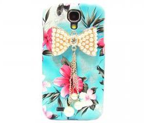 Samsung i9500 Galaxy S4 case,Samsung i9500 Galaxy S4 Bow Case,Crystal Pearl Bow Samsung i9500 Galaxy S4 Case,Blue Flower Galaxy S4 Case BP
