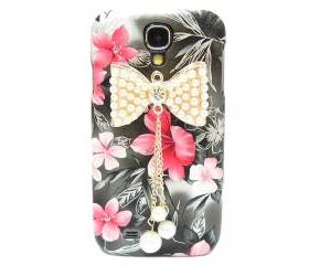 Samsung i9500 Galaxy S4 case, Black Pink Flower Bow Samsung i9500 Galaxy S4 Case,Crystal Pearl Bow Samsung i9500 Galaxy S4 Case BP