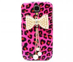 Samsung i9500 Galaxy S4 case,Samsung i9500 Galaxy S4 Bow Case,Crystal Pearl Bow Samsung i9500 Galaxy S4 Case, Leopard Pink Samsung Galaxy S4 Case BP