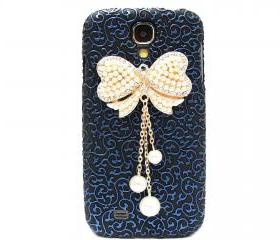 Samsung i9500 Galaxy S4 case, Palace Blue Black Flower Bow Samsung i9500 Galaxy S4 Case,Crystal Pearl Bow Samsung i9500 Galaxy S4 Case BW