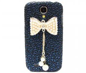 Samsung i9500 Galaxy S4 case, Palace Blue Black Flower Bow Samsung i9500 Galaxy S4 Case,Crystal Pearl Bow Samsung i9500 Galaxy S4 Case BP