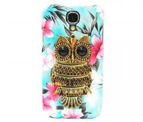Samsung i9500 Galaxy S4 case, Metal Owl Samsung i9500 Galaxy S4 Case,Flower Blue Samsung i9500 Galaxy S4 Case,unique Samsung Galaxy S4 Case