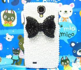 Samsung i9500 Galaxy S4 case, Crystal Black Bow Samsung i9500 Galaxy S4 Case, Pearl White Hard Samsung i9500 Galaxy S4 Case A1
