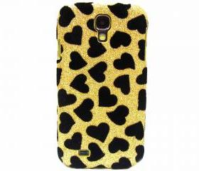 Samsung i9500 Galaxy S4 case,Bling Velvet Black Heart Gold Samsung i9500 Galaxy S4 Case,Bling Samsung i9500 Galaxy S4 Case, unique Samsung i9500 Galaxy S4 Case