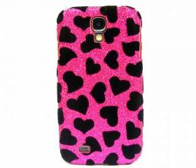 Samsung i9500 Galaxy S4 case,Bling Velvet Black Heart Pink Samsung i9500 Galaxy S4 Case,Bling Samsung i9500 Galaxy S4 Case, unique Samsung i9500 Galaxy S4 Case