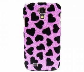Samsung i9500 Galaxy S4 case,Bling Velvet Black Heart Silver Samsung i9500 Galaxy S4 Case,Bling Samsung i9500 Galaxy S4 Case, unique Samsung i9500 Galaxy S4 Case