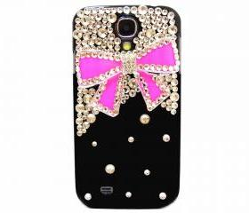 Samsung I9500 Galaxy S4 Case, Crystal Black Samsung I9500 Galaxy S4 Case,Bling Crystal Dark Pink Bow Samsung I9500 Galaxy S4 Case