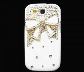 Samsung i9300 T999 Galaxy S3 T-Mobile Case,Bling Crystal White Bow Samsung i9300 T999 Galaxy S3 T-mobile Case,White Samsung Galaxy i9300 T999 S3 Case