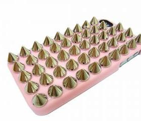Studded iphone 4 case,iphone 4G case,SIlver Spike iphone 4 case,iphone 4S case,Pink iphone 4 Case,Pink iphone 4 case,unique iphone 4G case