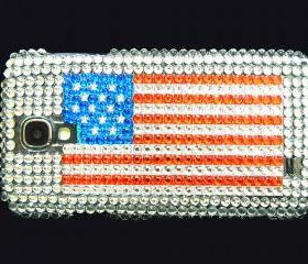 Samsung i9500 Galaxy S4 case, American US Flag Samsung i9500 Galaxy S4 Case,Bling Crystal American Flag Samsung i9500 Galaxy S4 Case