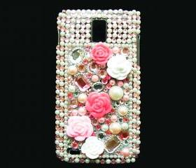 Samsung T989 Hercules Galaxy S2 T-Mobile Case, Bling Crystal Pink Flower Pearl Samsung galaxy S2 case T-Mobile Case, Crystal Samsung Galaxy S2 Case LP