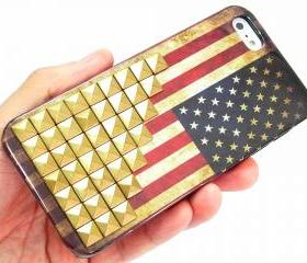 iphone 5 Case,iphone 5G Case,Iphone 5 case Cover,unique iphone 5 case,Vintage Style American Flag Iphone 5 case with Bronze Pyramid studs
